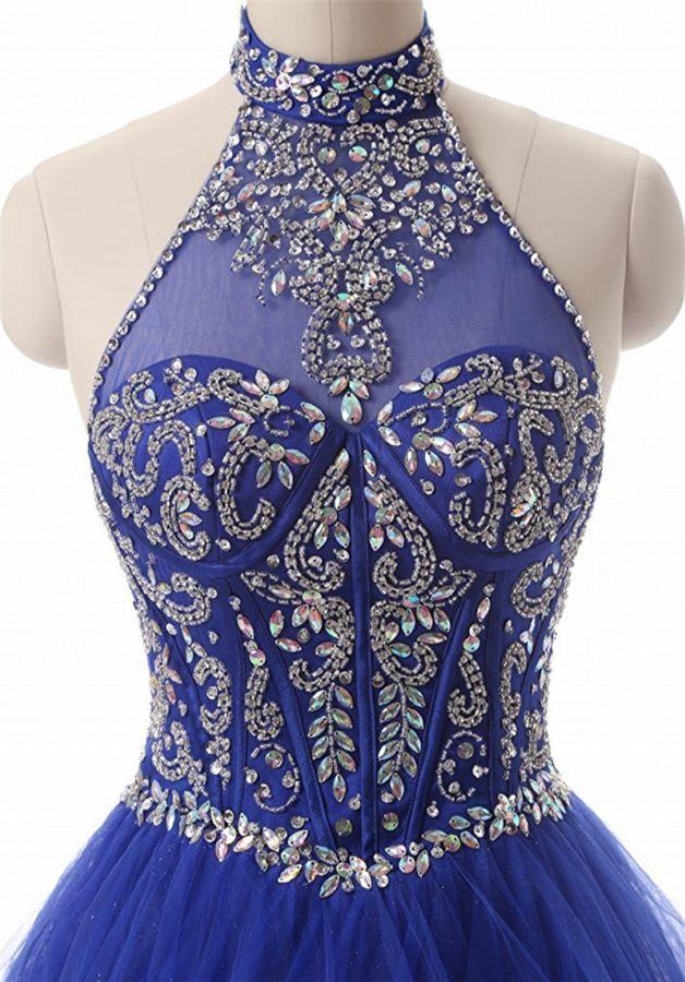a9bc74c6dfad plesové šaty modré královsky vyšívané na maturitní ples - plesové ...